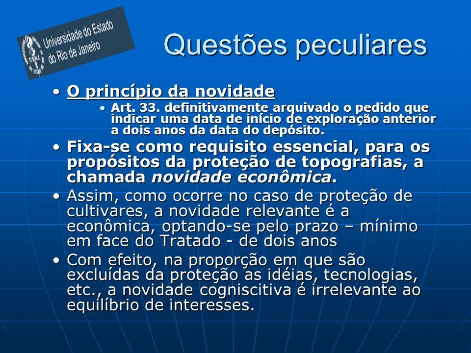 Questões peculiares O princípio da novidadeO princípio da novidade Art. 33. definitivamente arquivado o pedido que indicar uma data de início de explo
