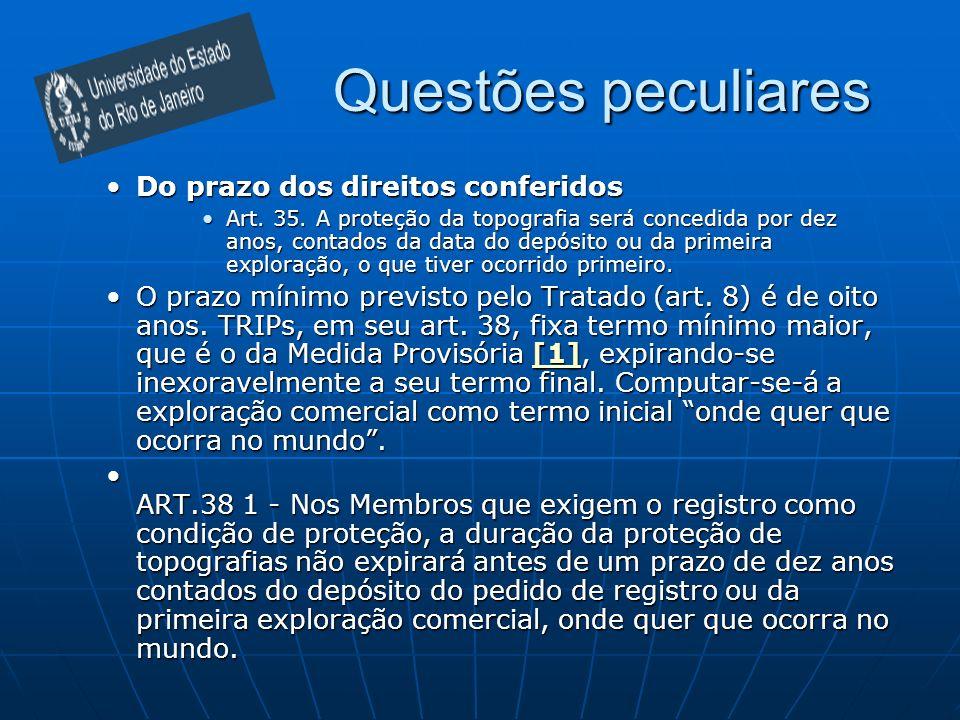 Questões peculiares Do prazo dos direitos conferidosDo prazo dos direitos conferidos Art. 35. A proteção da topografia será concedida por dez anos, co