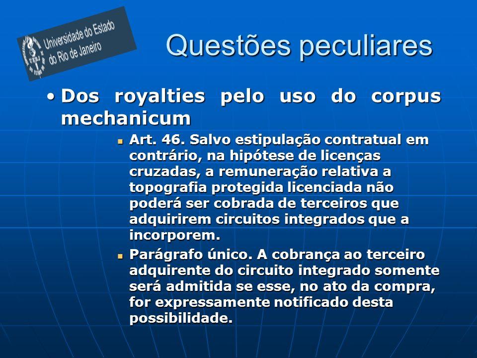Questões peculiares Dos royalties pelo uso do corpus mechanicumDos royalties pelo uso do corpus mechanicum Art. 46. Salvo estipulação contratual em co