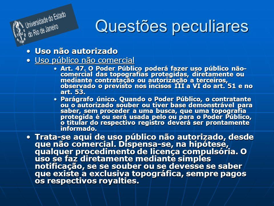 Questões peculiares Uso não autorizadoUso não autorizado Uso público não comercialUso público não comercial Art. 47. O Poder Público poderá fazer uso