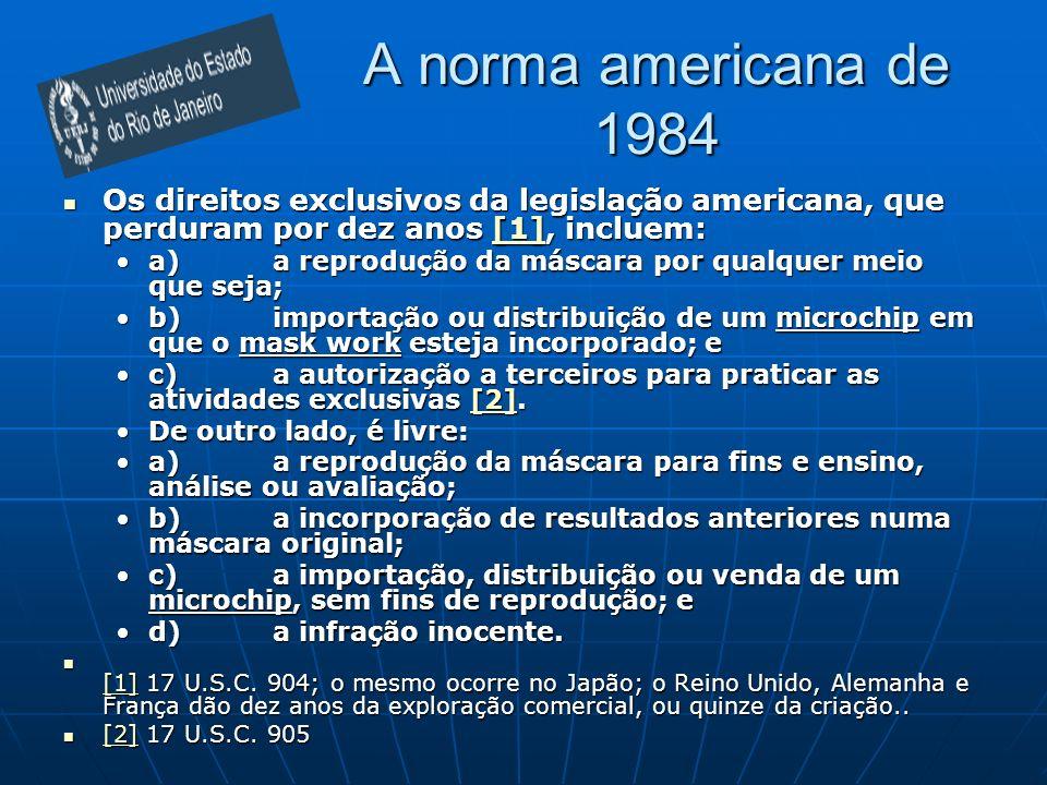 A norma americana de 1984 Os direitos exclusivos da legislação americana, que perduram por dez anos [1], incluem: Os direitos exclusivos da legislação