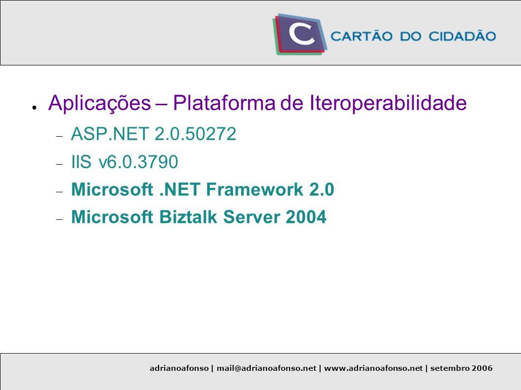 adrianoafonso | mail@adrianoafonso.net | www.adrianoafonso.net | setembro 2006 Aplicações – Plataforma de Iteroperabilidade ASP.NET 2.0.50272 IIS v6.0