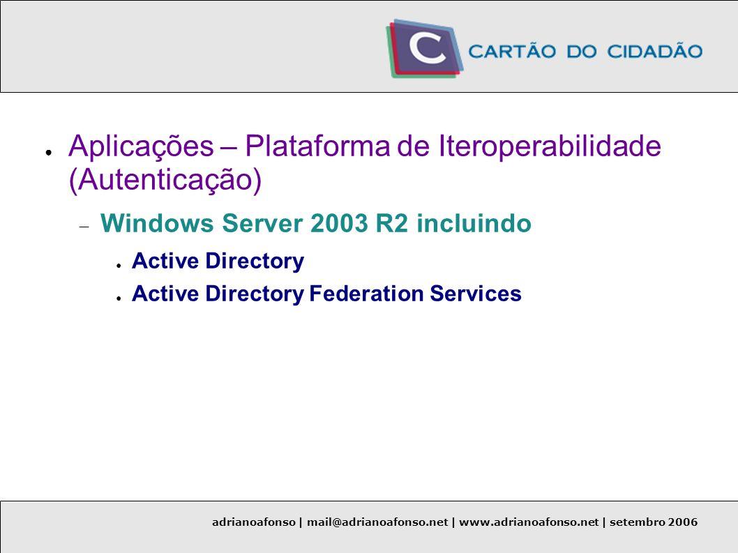 adrianoafonso | mail@adrianoafonso.net | www.adrianoafonso.net | setembro 2006 Aplicações – Plataforma de Iteroperabilidade (Autenticação) Windows Ser