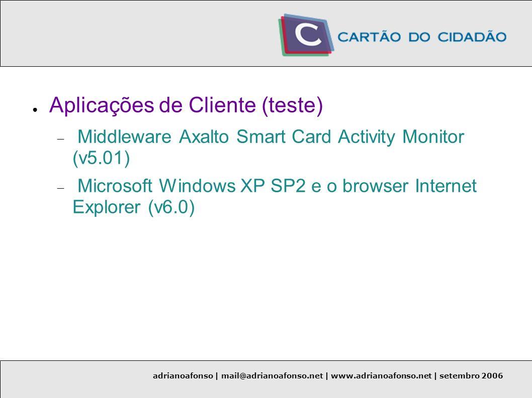 adrianoafonso | mail@adrianoafonso.net | www.adrianoafonso.net | setembro 2006 Aplicações de Cliente (teste) Middleware Axalto Smart Card Activity Mon