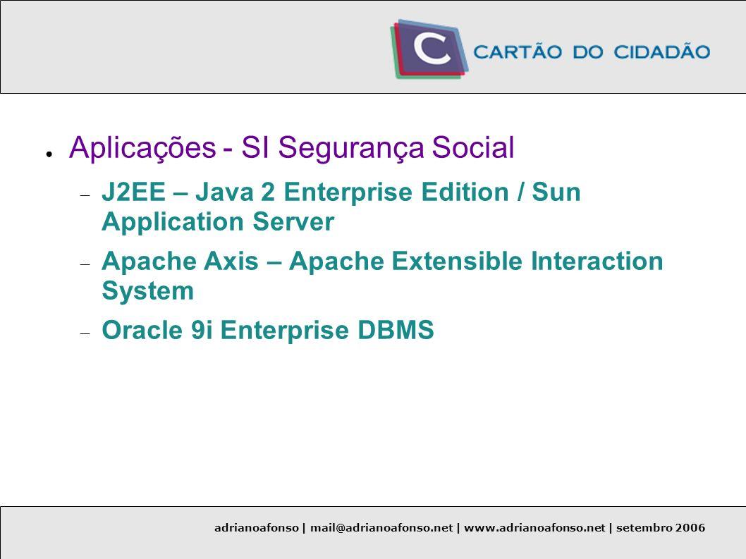 adrianoafonso | mail@adrianoafonso.net | www.adrianoafonso.net | setembro 2006 Aplicações - SI Segurança Social J2EE – Java 2 Enterprise Edition / Sun