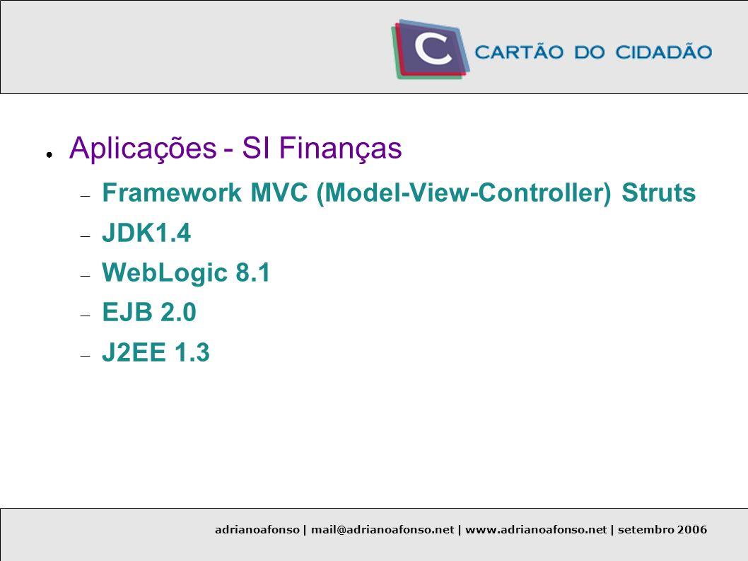adrianoafonso | mail@adrianoafonso.net | www.adrianoafonso.net | setembro 2006 Aplicações - SI Finanças Framework MVC (Model-View-Controller) Struts J
