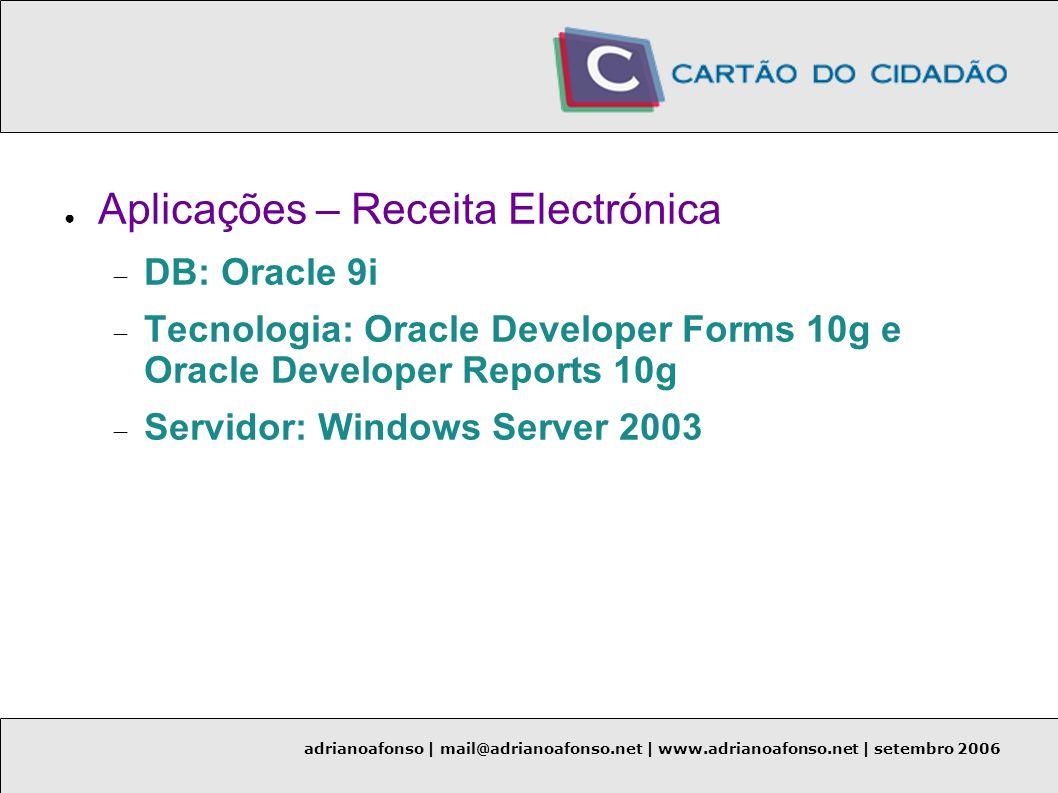 adrianoafonso | mail@adrianoafonso.net | www.adrianoafonso.net | setembro 2006 Aplicações – Receita Electrónica DB: Oracle 9i Tecnologia: Oracle Devel