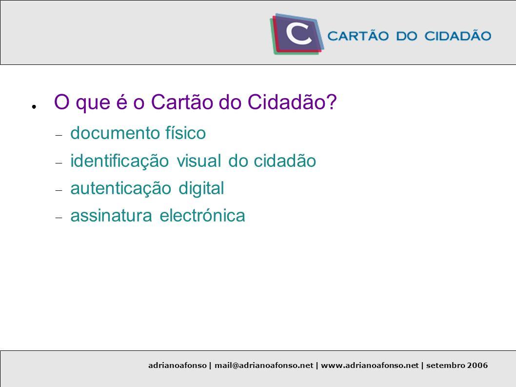 adrianoafonso | mail@adrianoafonso.net | www.adrianoafonso.net | setembro 2006 Segurança One time password pela INCM (no CRM) autenticação forte do cartão, existem basicamente 3 soluções/tecnologias possíveis: EMV-CAP standard OATH (http://www.openauthentication.org/) solução desenhada à medida para o CC, mas que implicaria leitores especialmente customizados para o efeito.