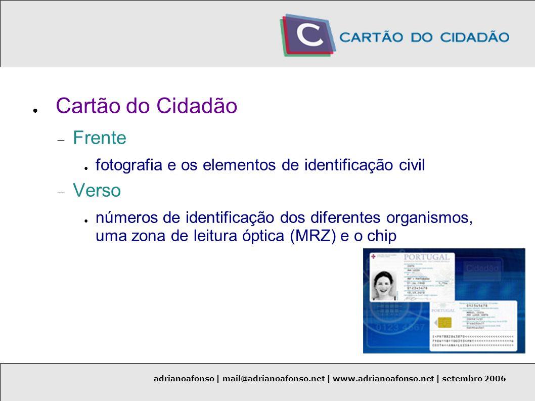 adrianoafonso | mail@adrianoafonso.net | www.adrianoafonso.net | setembro 2006 Aplicações de Cliente (teste) Middleware Axalto Smart Card Activity Monitor (v5.01) Microsoft Windows XP SP2 e o browser Internet Explorer (v6.0)