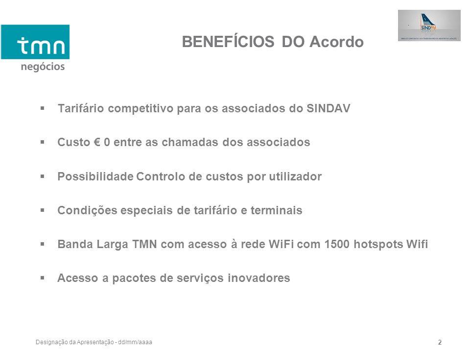 Designação da Apresentação - dd/mm/aaaa 2 BENEFÍCIOS DO Acordo Tarifário competitivo para os associados do SINDAV Custo 0 entre as chamadas dos associ