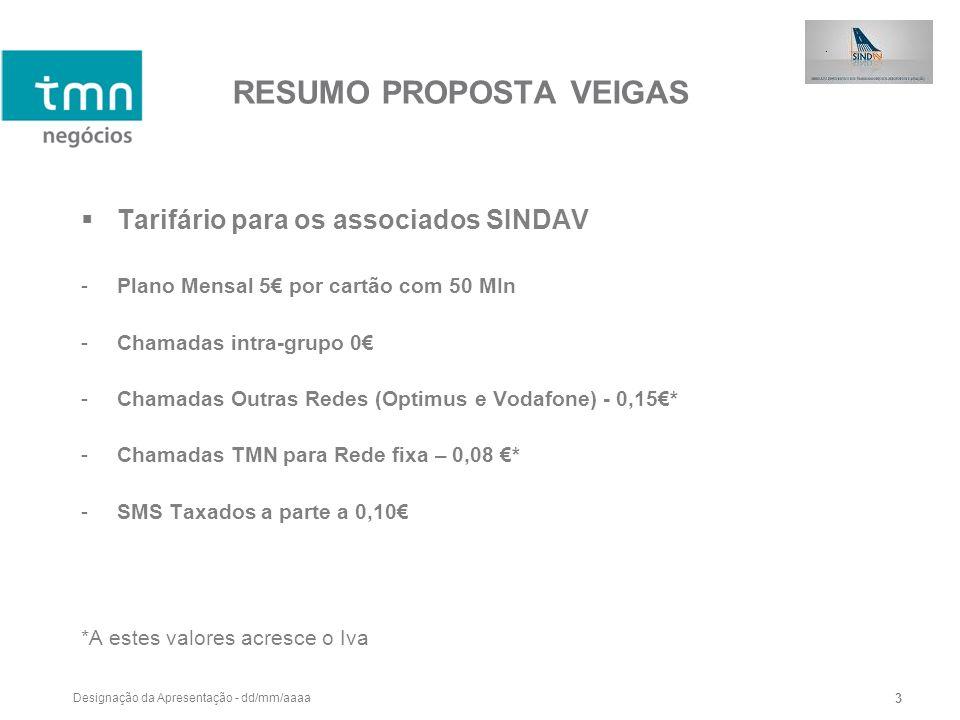 Designação da Apresentação - dd/mm/aaaa 3 RESUMO PROPOSTA VEIGAS Tarifário para os associados SINDAV -Plano Mensal 5 por cartão com 50 MIn -Chamadas i