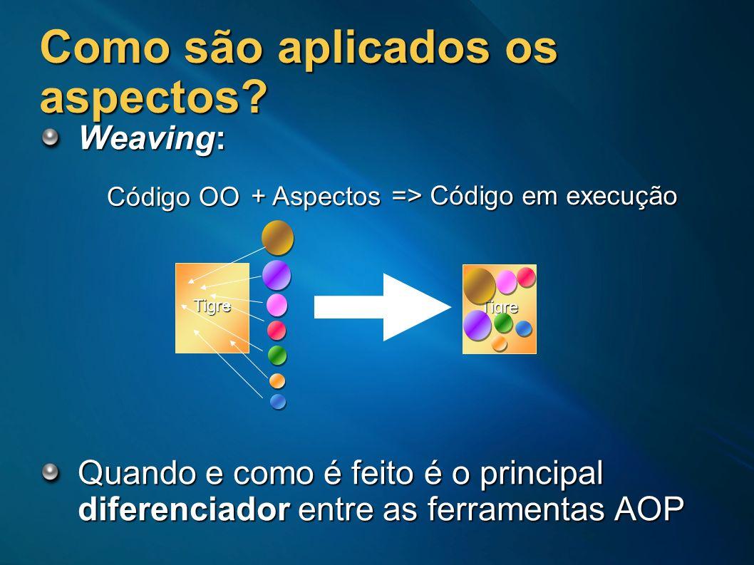 Como são aplicados os aspectos? Weaving: Quando e como é feito é o principal diferenciador entre as ferramentas AOP Tigre Tigre Código OO + Aspectos =