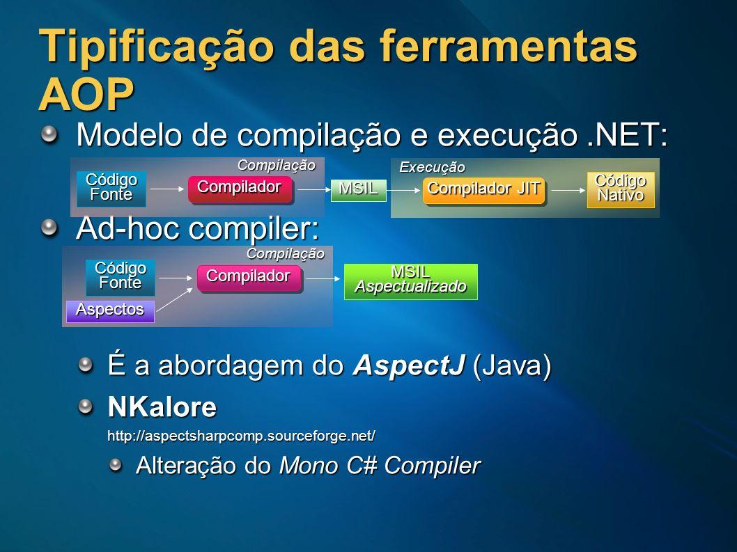 Tipificação das ferramentas AOP Modelo de compilação e execução.NET: Ad-hoc compiler: É a abordagem do AspectJ (Java) NKalorehttp://aspectsharpcomp.so