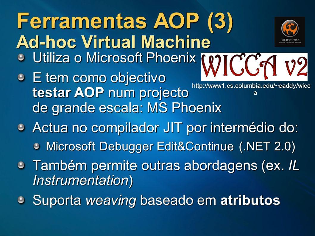 Ferramentas AOP (3) Ad-hoc Virtual Machine Utiliza o Microsoft Phoenix E tem como objectivo testar AOP num projecto de grande escala: MS Phoenix Actua