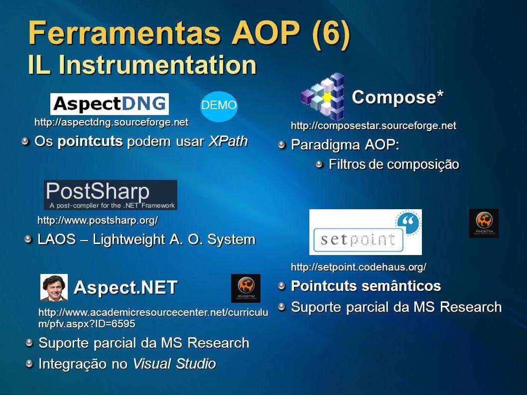 Ferramentas AOP (6) IL Instrumentation Compose* http://composestar.sourceforge.net Paradigma AOP: Filtros de composição http://setpoint.codehaus.org/