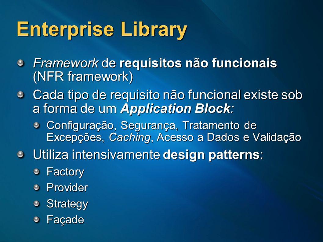 Enterprise Library Framework de requisitos não funcionais (NFR framework) Cada tipo de requisito não funcional existe sob a forma de um Application Bl