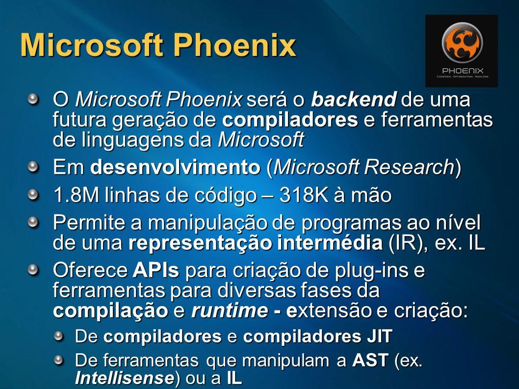 Microsoft Phoenix O Microsoft Phoenix será o backend de uma futura geração de compiladores e ferramentas de linguagens da Microsoft Em desenvolvimento