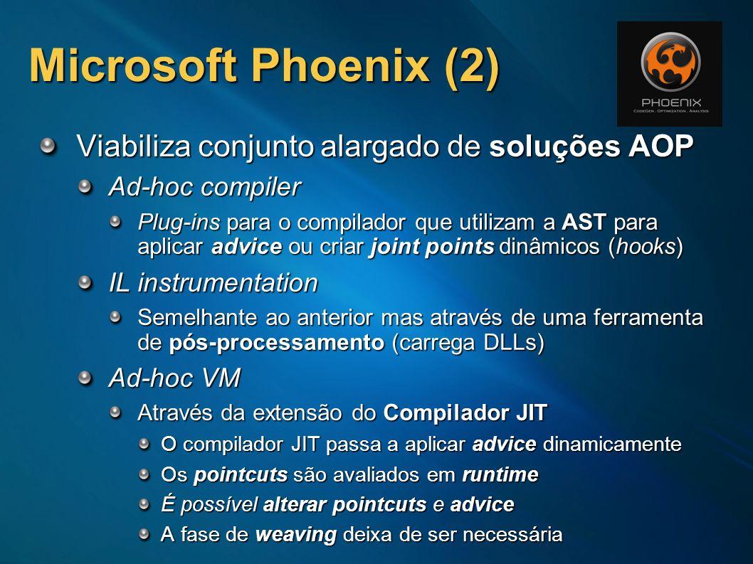 Microsoft Phoenix (2) Viabiliza conjunto alargado de soluções AOP Ad-hoc compiler Plug-ins para o compilador que utilizam a AST para aplicar advice ou
