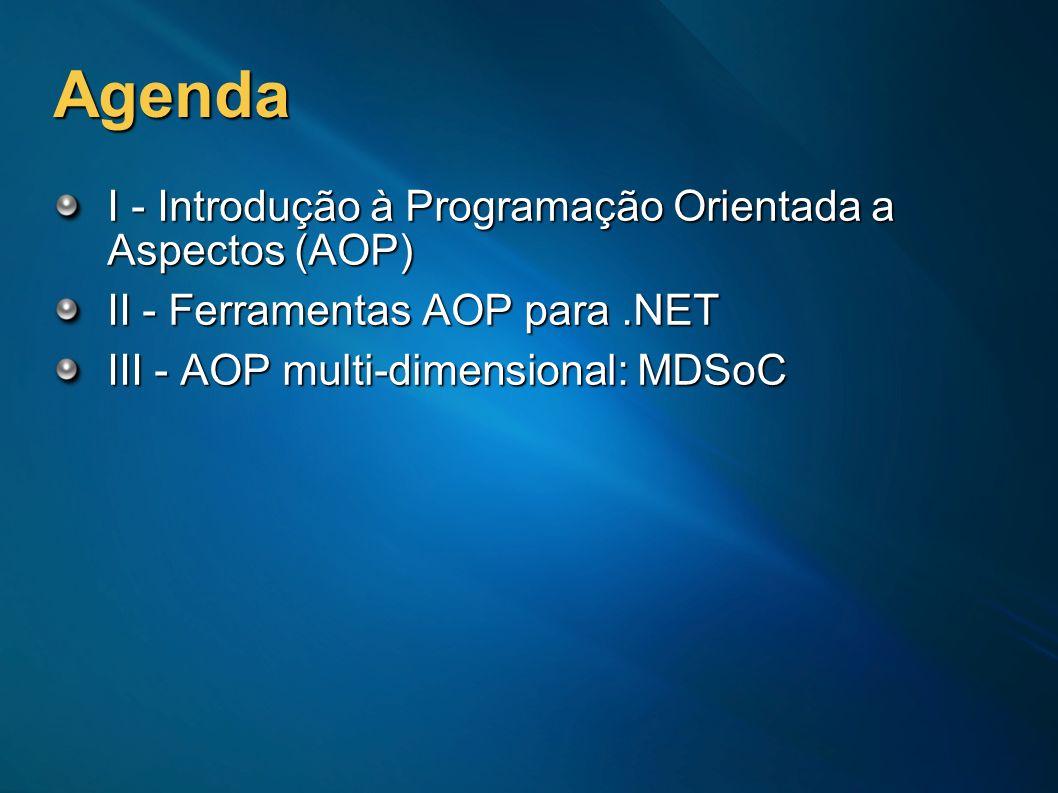 Agenda I - Introdução à Programação Orientada a Aspectos (AOP) II - Ferramentas AOP para.NET III - AOP multi-dimensional: MDSoC