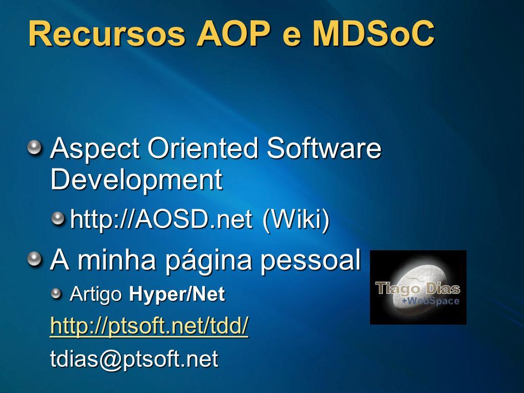 Recursos AOP e MDSoC Aspect Oriented Software Development http://AOSD.net (Wiki) A minha página pessoal Artigo Hyper/Net http://ptsoft.net/tdd/tdias@p