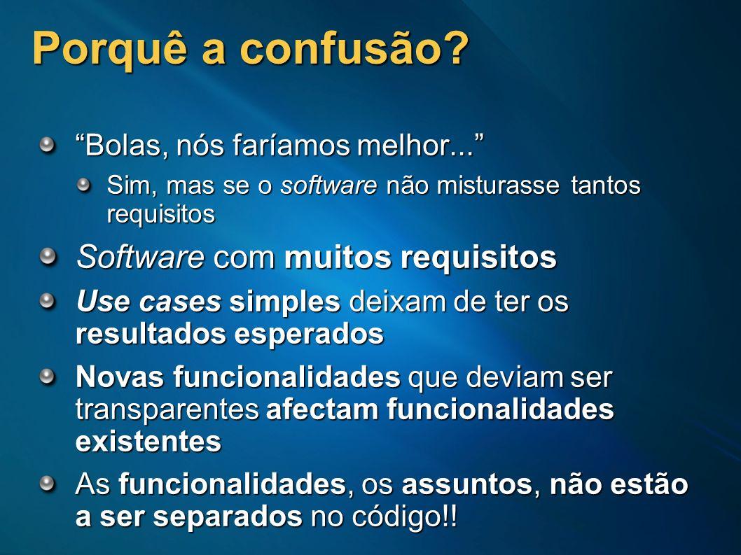 Porquê a confusão? Bolas, nós faríamos melhor... Sim, mas se o software não misturasse tantos requisitos Software com muitos requisitos Use cases simp