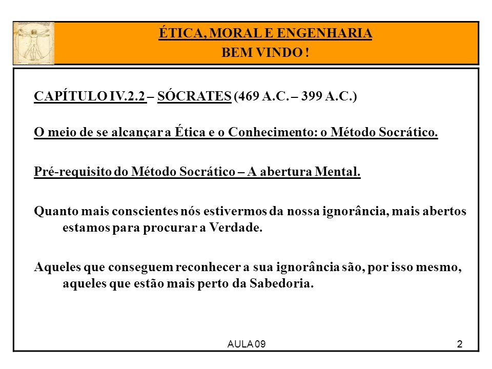 AULA 09 2 CAPÍTULO IV.2.2 – SÓCRATES (469 A.C. – 399 A.C.) O meio de se alcançar a Ética e o Conhecimento: o Método Socrático. Pré-requisito do Método