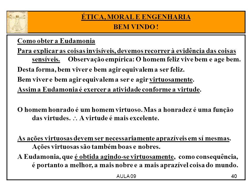 AULA 09 40 Como obter a Eudamonia Para explicar as coisas invisíveis, devemos recorrer à evidência das coisas sensíveis. Observação empírica: O homem