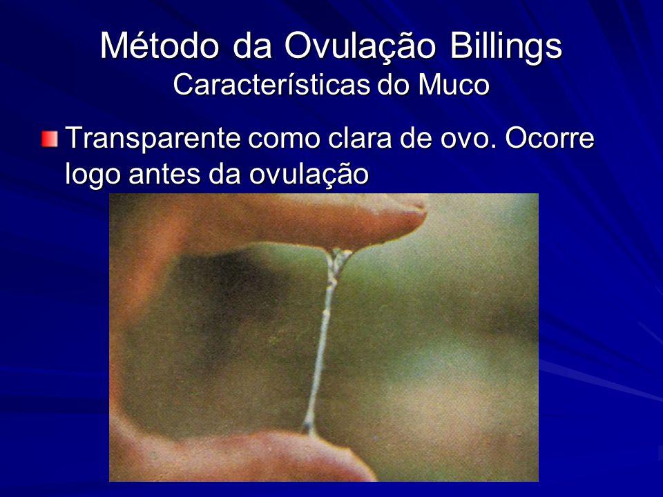 Método da Ovulação Billings Características do Muco Transparente como clara de ovo. Ocorre logo antes da ovulação