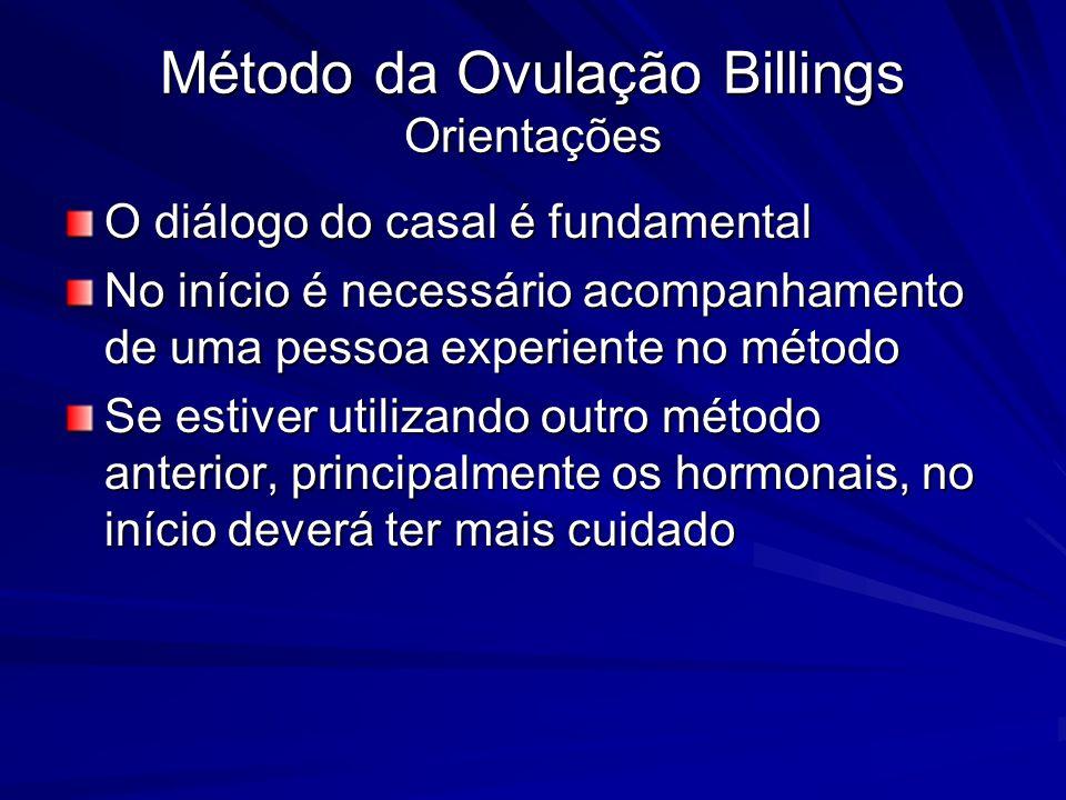 Método da Ovulação Billings Orientações O diálogo do casal é fundamental No início é necessário acompanhamento de uma pessoa experiente no método Se e