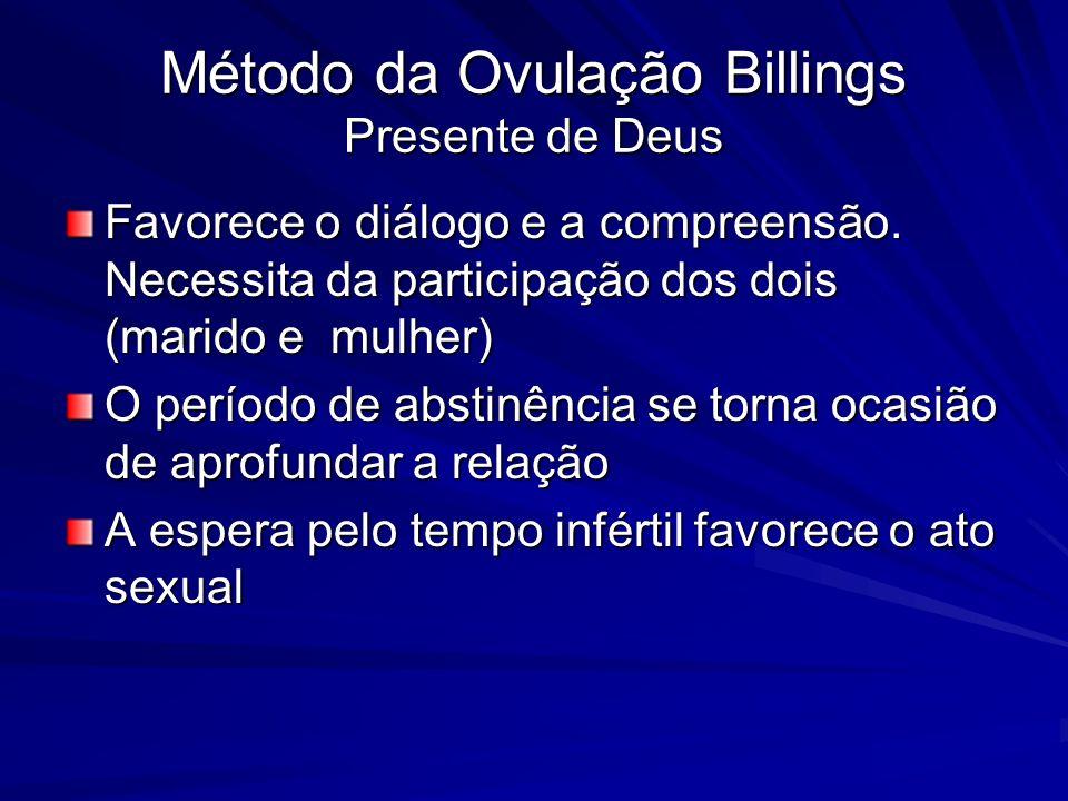 Método da Ovulação Billings Presente de Deus Favorece o diálogo e a compreensão. Necessita da participação dos dois (marido e mulher) O período de abs