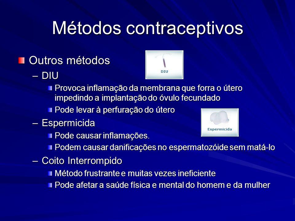 Métodos contraceptivos Outros métodos –DIU Provoca inflamação da membrana que forra o útero impedindo a implantação do óvulo fecundado Pode levar à pe