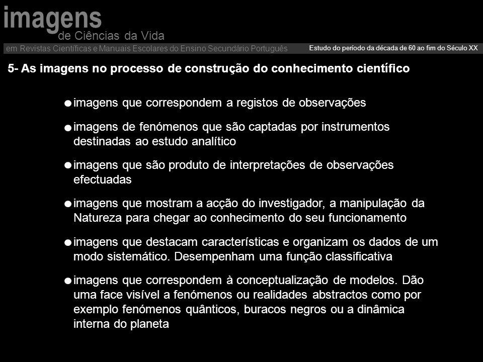 5- As imagens no processo de construção do conhecimento científico imagens que correspondem a registos de observações imagens de fenómenos que são cap