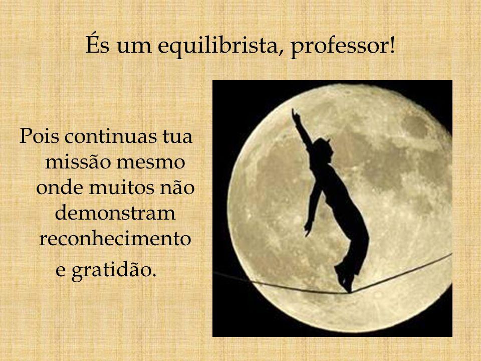 És um equilibrista, professor! Pois continuas tua missão mesmo onde muitos não demonstram reconhecimento e gratidão.