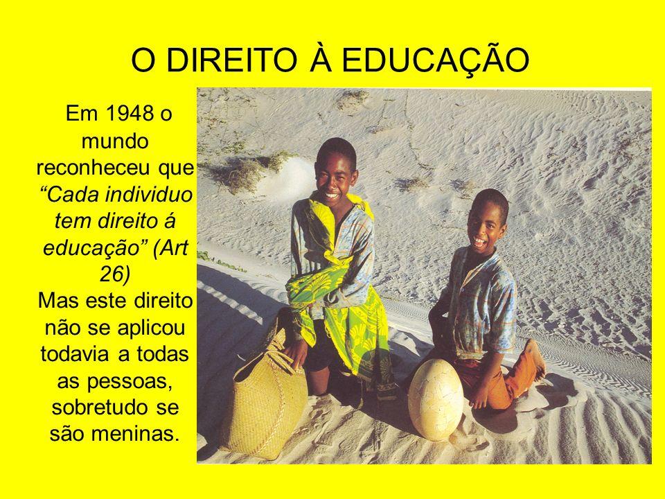 O DIREITO À EDUCAÇÃO Em 1948 o mundo reconheceu que Cada individuo tem direito á educação (Art 26) Mas este direito não se aplicou todavia a todas as