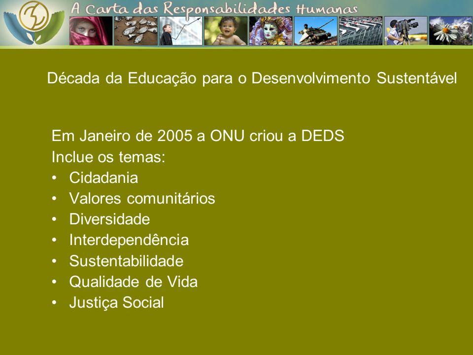 Década da Educação para o Desenvolvimento Sustentável Em Janeiro de 2005 a ONU criou a DEDS Inclue os temas: Cidadania Valores comunitários Diversidad