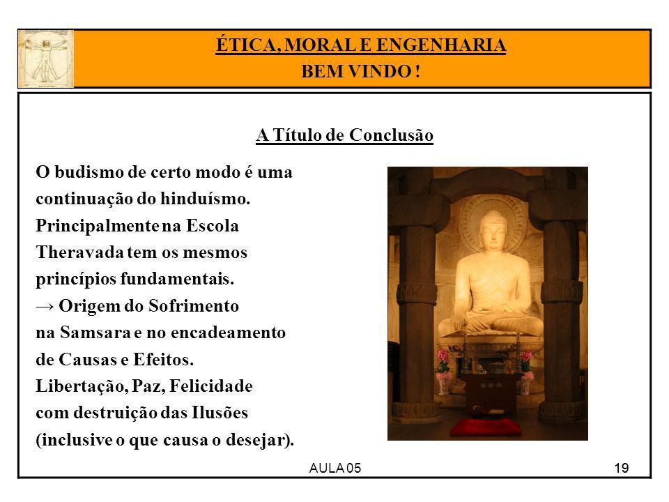 AULA 05 19 A Título de Conclusão 19 ÉTICA, MORAL E ENGENHARIA BEM VINDO ! O budismo de certo modo é uma continuação do hinduísmo. Principalmente na Es
