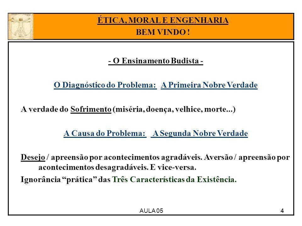 AULA 05 4 - O Ensinamento Budista - O Diagnóstico do Problema: A Primeira Nobre Verdade A verdade do Sofrimento (miséria, doença, velhice, morte...) A