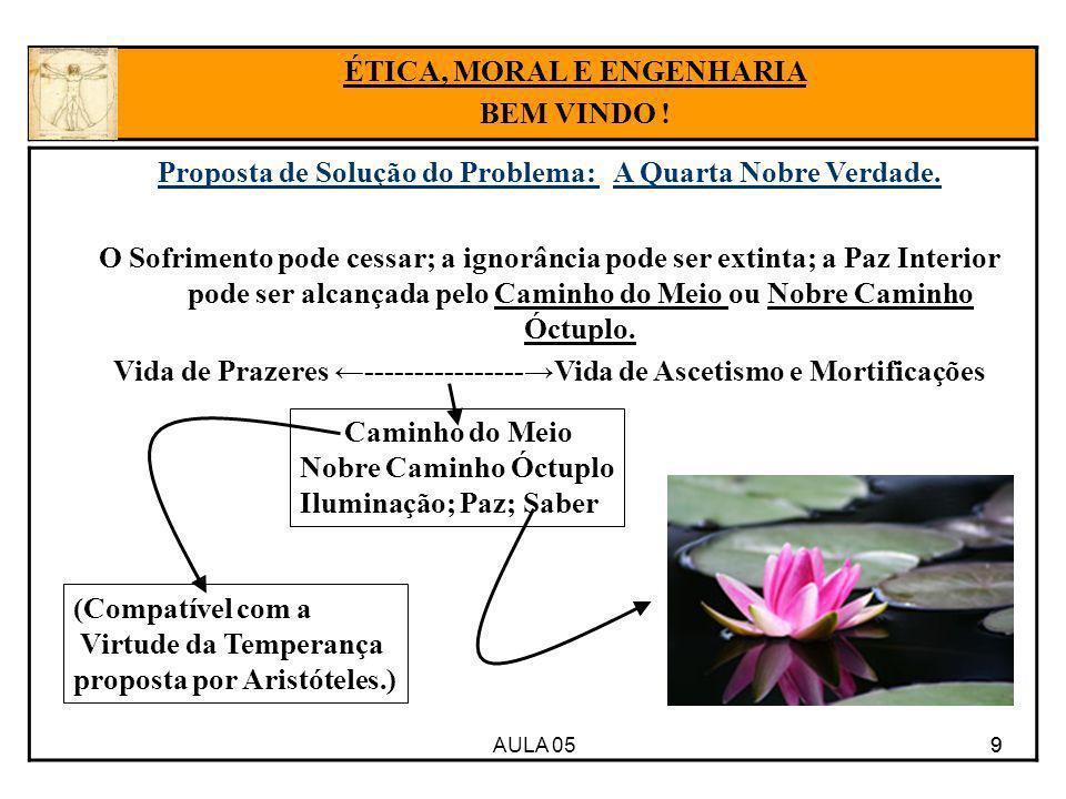 AULA 05 9 Proposta de Solução do Problema: A Quarta Nobre Verdade. O Sofrimento pode cessar; a ignorância pode ser extinta; a Paz Interior pode ser al
