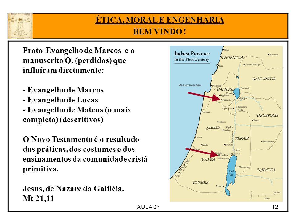 AULA 07 12 ÉTICA, MORAL E ENGENHARIA BEM VINDO ! Proto-Evangelho de Marcos e o manuscrito Q. (perdidos) que influíram diretamente: - Evangelho de Marc