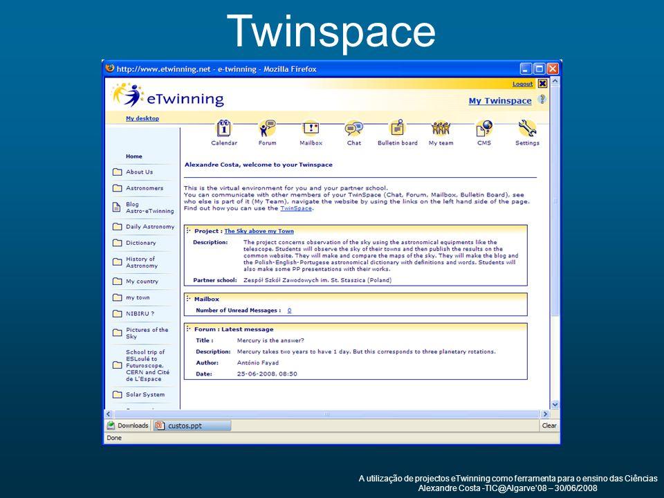 Twinspace A utilização de projectos eTwinning como ferramenta para o ensino das Ciências Alexandre Costa -TIC@Algarve08 – 30/06/2008