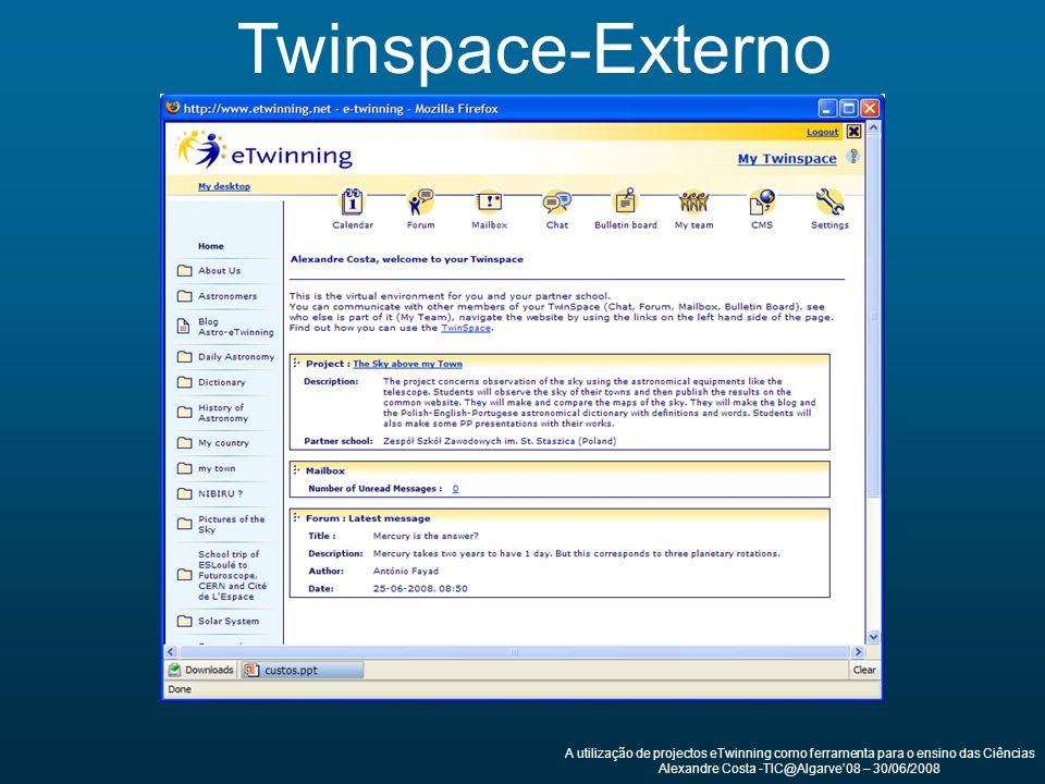 Twinspace-Externo A utilização de projectos eTwinning como ferramenta para o ensino das Ciências Alexandre Costa -TIC@Algarve08 – 30/06/2008