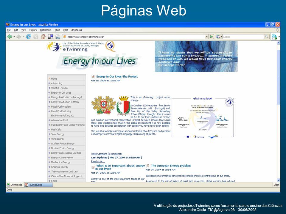 A utilização de projectos eTwinning como ferramenta para o ensino das Ciências Alexandre Costa -TIC@Algarve08 – 30/06/2008 Páginas Web