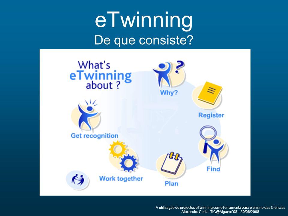 eTwinning De que consiste? A utilização de projectos eTwinning como ferramenta para o ensino das Ciências Alexandre Costa -TIC@Algarve08 – 30/06/2008