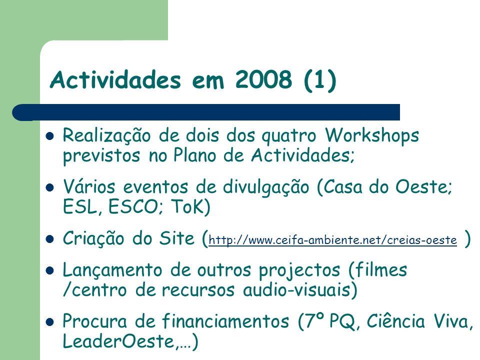 Actividades em 2008 (cont.) Participação no International Meeting of RCE (Barcelona, Julho) Reestruturação da Comissão Dinamizadora (CD) Elaboração do Plano de Trabalhos para 2009 Preparação de uma candidatura europeia (projecto para escolas secundárias) RCE-Meeting em Limerick (IR), 15-17 de Dezembro de 2008 (??)