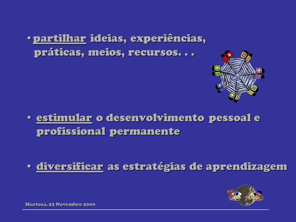 partilhar ideias, experiências, práticas, meios, recursos...partilhar ideias, experiências, práticas, meios, recursos... estimular o desenvolvimento p
