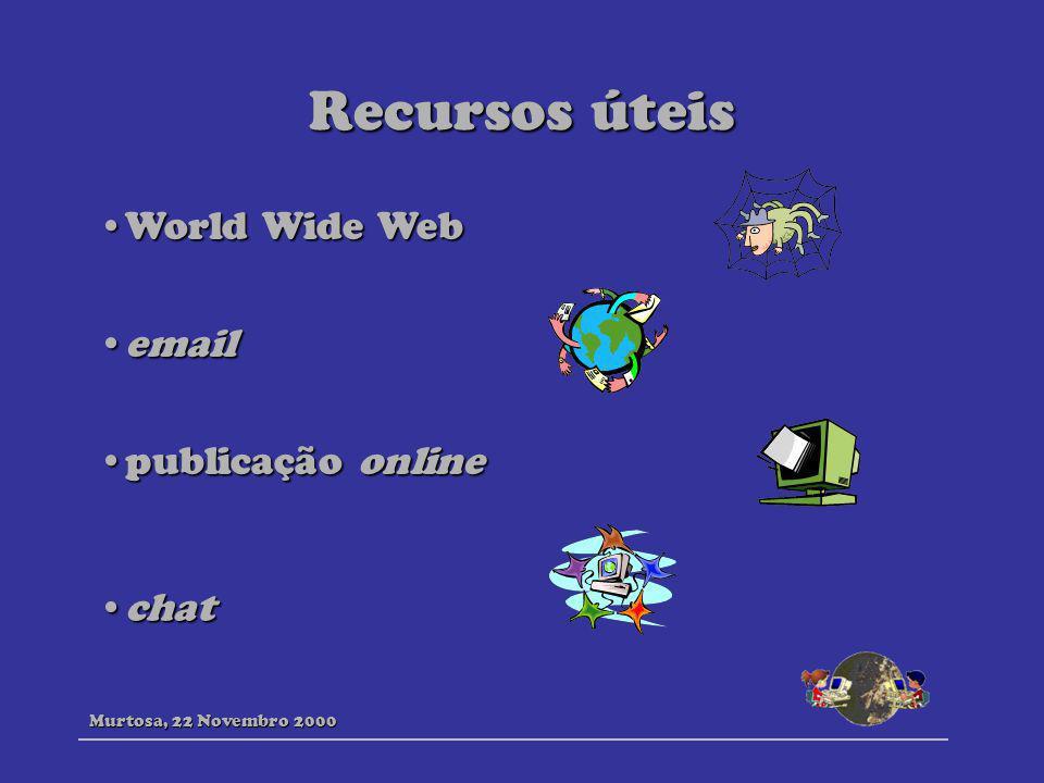 Recursos úteis World Wide WebWorld Wide Web emailemail publicação onlinepublicação online chatchat Murtosa, 22 Novembro 2000