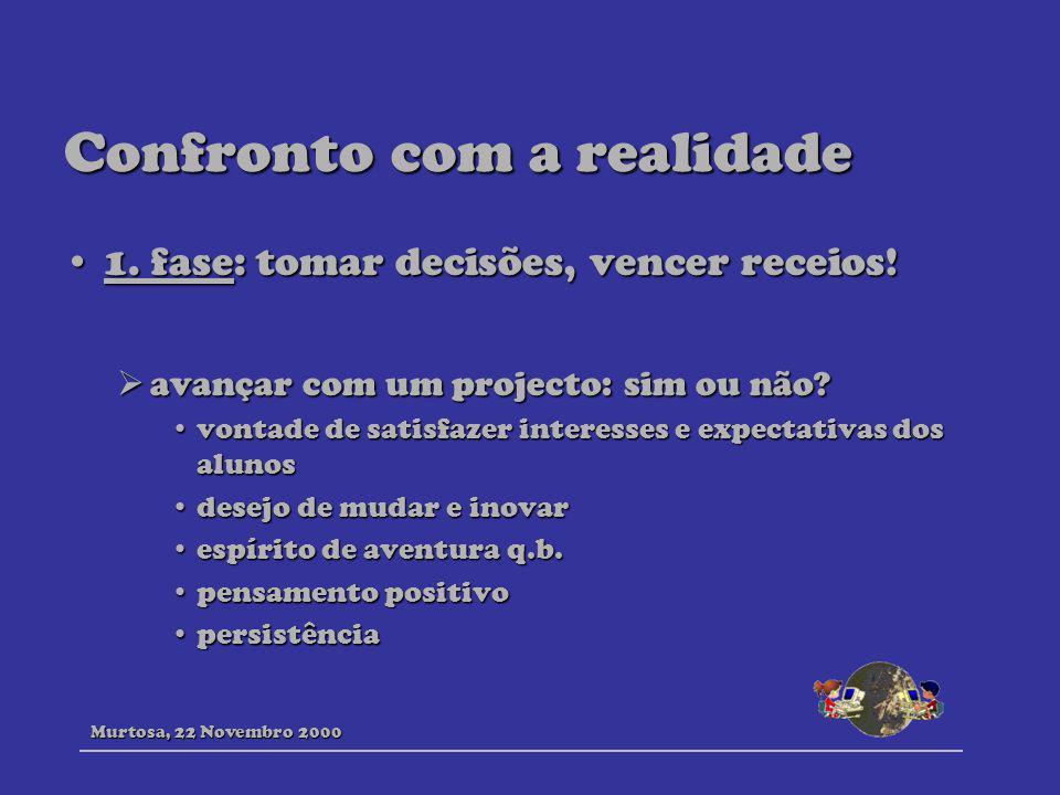 Confronto com a realidade 1. fase: tomar decisões, vencer receios!1. fase: tomar decisões, vencer receios! avançar com um projecto: sim ou não? avança