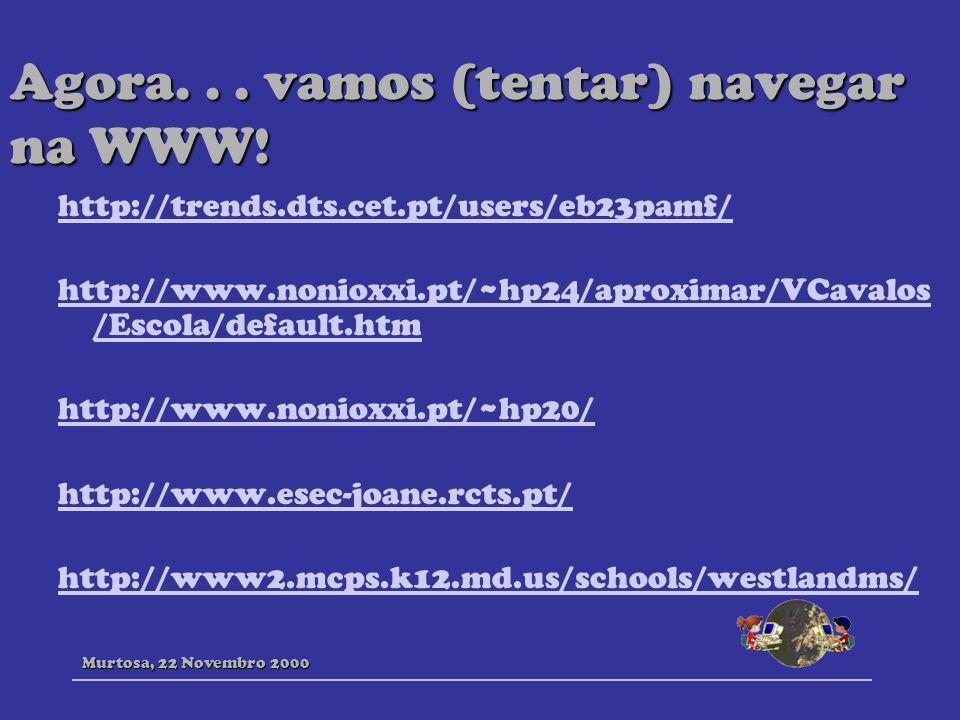 Agora... vamos (tentar) navegar na WWW! http://trends.dts.cet.pt/users/eb23pamf/ http://www.nonioxxi.pt/~hp24/aproximar/VCavalos /Escola/default.htm h