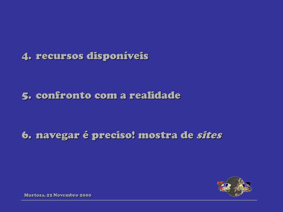 4.recursos disponíveis 5.confronto com a realidade 6.navegar é preciso! mostra de sites