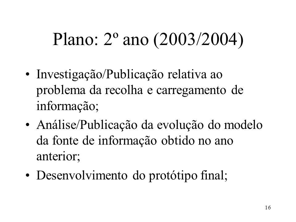 16 Plano: 2º ano (2003/2004) Investigação/Publicação relativa ao problema da recolha e carregamento de informação; Análise/Publicação da evolução do m